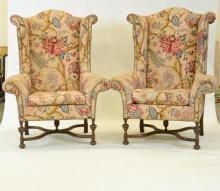 Pair of Large Wing Back Chairs