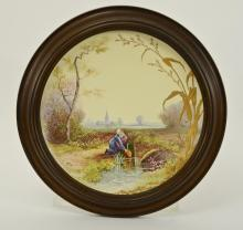 Hand Painted Porcelain Plate in Frame