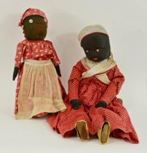 Two Black Americana Mammy Dolls