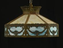 Slag Glass Panel Hanging Lamp