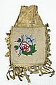 American Indian Cherokee Made Beaded Elk Skin Bag