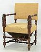 Upholstered Hand Carved Chair w Monks
