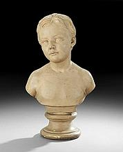 Terracotta-Painted Plaster Bust of a Young Boy