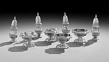 Eight-Piece Britannia Silver Salt and Pepper Set