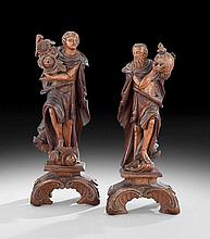 Pair of Baroque-Style Carved Walnut Figures
