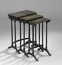Three Chinese Export Lacquer Nesting Tables