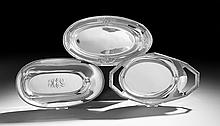 Three American and German Silver Bread Trays