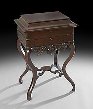 American Rococo Revival Figured Walnut Work Table