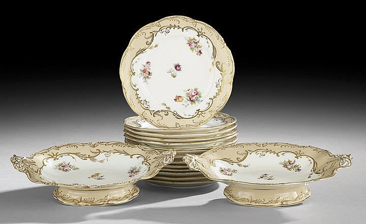 English Staffordshire Partial Dessert Service