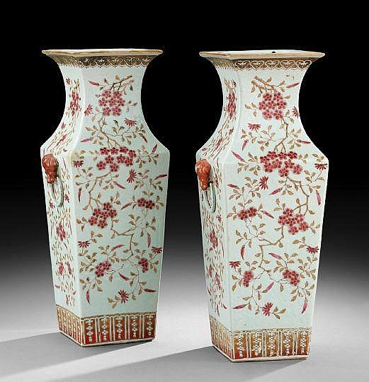 Pair of Chinese Porcelain Square Vases