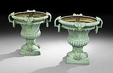 Pair of Patinated Bronze Campana-Form Garden Urns