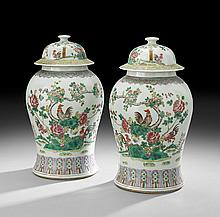 Pair of Chinese Porcelain Lidded Ginger Jars