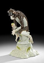 Samson Polychrome Porcelain Figure of a Monkey