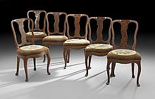 Six Italian Marquetry-Inlaid Dining Chairs