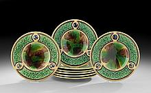 Set of Eight English Majolica Plates