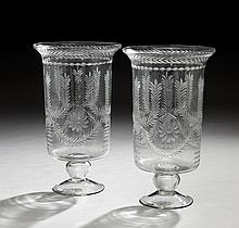 Pair of Regency-Style Glass Hurricane Lamps