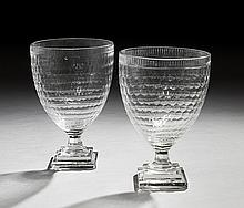 Pair of Regency-Style Cut Glass Hurricane Lamps