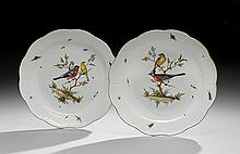 Pair of Meissen Hand-Painted Porcelain Chargers