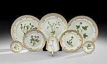 Eight Pieces of Royal Copenhagen Flora Danica