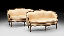 Pair of Louis XV-Style Mahogany Settees