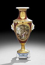 Continental Hand-Painted Porcelain Garniture Urn