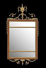 Edwardian Parcel-Gilt and Mahogany Mirror