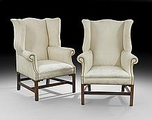 Pair of George III-Style Mahogany Wingback Chairs