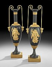 Pair of French Empire-Style Bronze Garniture Urns