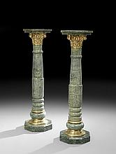 Pair of Italian Marble and Brass Pedestals