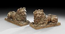 Pair of Terracotta Recumbent Lion Figures