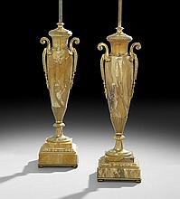 Pair of French Empire-Style Marble & Bronze Lamps