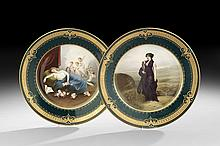 Pair of Vienna-Style Hand-Painted Cabinet Plates