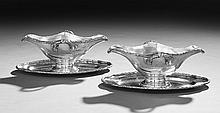 Pair of Belgian .800 Silver Sauceboats-on-Stands