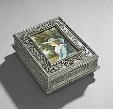 Silverplate Jewelry Box with Portrait Miniature