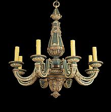 Baroque-Style Boldly Carved Wooden Chandelier