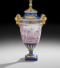 Sevres-Style Gilded Porcelain Garniture Urn