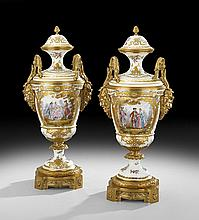 Pair of French Porcelain & Bronze Garniture Urns