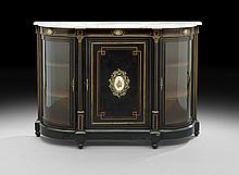 Victorian Ebonized and Marble-Top Parlor Cabinet