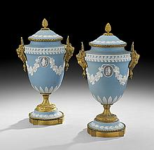 Pair of Gilt-Bronze-Mounted Wedgwood Covered Urns