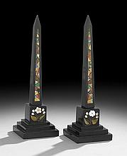Pair of Italian Pietra Dura Obelisks