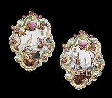 Pair of French Rococo-Style Porcelain Plaques