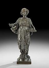 American Patinated Bronze Figure of a Maiden