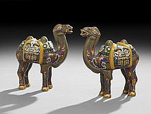 Pair of Chinese Cloisonne Camel Figures