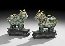 Pair of Chinese Cloisonne Censers