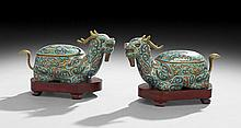 Pair of Antique Chinese Cloisonne Censers