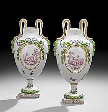 Pair of Louis XV Faience Garniture Urns