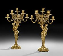 Pair of French Gilt-Bronze Candelabra