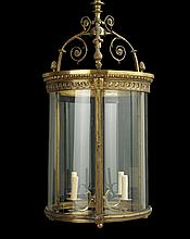 Beaux Arts Gilt-Bronze and Glass Lantern