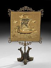 Aesthetic Period Bronze and Needlework Firescreen