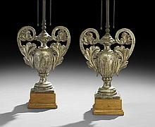 Pair of Baroque-Style Silver Gilt Wooden Urns